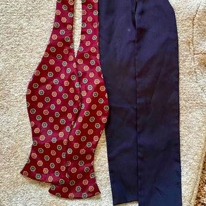Two Vintage Men's Bow Ties Blue and Patterned